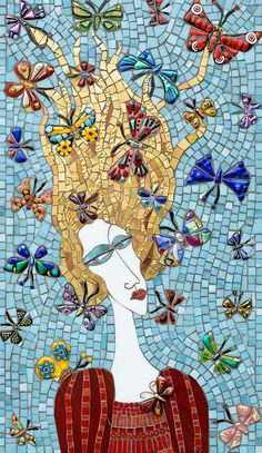 'Woman & Butterflies' Mosaic by i c mosaics from flickr by icmosaics<3<3<3