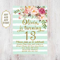 Floral birthday invitation 13th birthday invitations girl mint stripes