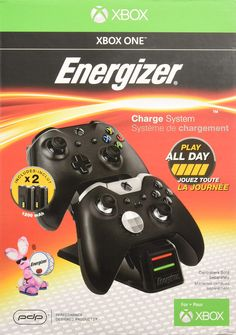 PDP Energizer Xbox One Controller Charger with Rechargeable Battery Pack for Two Wireless Controllers Charging Station Black (Package May Vary) Best Pc, Xbox One Controller, Play, Jouer, Microsoft, Charger, Packing, Bag Packaging