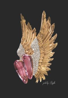 """Verdura Winged Brooch: Pink Topaz, Gold and Diamond 'Winged' Brooch, 1939 – Originally purchased by Joan Fontaine and worn in Alfred Hitchcock's film """"Suspicion""""."""