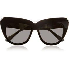 Illesteva Brigitte cat eye acetate sunglasses (£180) ❤ liked on Polyvore featuring accessories, eyewear, sunglasses, glasses, sunnies, black, retro sunglasses, black cateye glasses, uv protection sunglasses and black cat eye sunglasses
