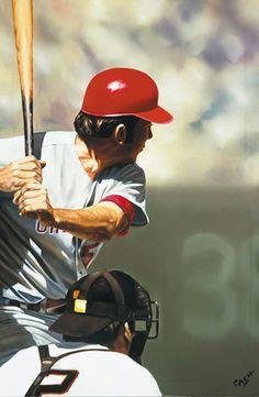 Cincinnati Reds Johnny Bench by Eric Cash Baseball Art, Dodgers Baseball, Baseball Players, Mlb, Johnny Bench, Cincinnati Reds Baseball, National League, Sports Art, Major League