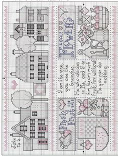 Schema punto croce Little Country Cottage 03 Cross Stitch Sampler Patterns, Cross Stitch Samplers, Cross Stitch Designs, Cross Stitching, Cross Stitch Embroidery, Cross Stitch Boards, Just Cross Stitch, Cross Stitch Needles, Hedgehog Cross Stitch