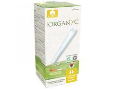 ORGANYC- Tampones orgánicos Regular con aplicador 16 unidades.  Composición: Fibras de algodón 100 % orgánico, velo de algodón orgánico, sin tejer, hilo de algodón, envoltorio individual, abertura fácil.
