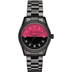 Karl Lagerfeld Petite Stud  Bracelet Watch (3,870 MXN) ❤ liked on Polyvore featuring jewelry, watches, gunmetal, petite, studded jewelry, dial watches, studded watches, red and black jewelry and bracelet jewelry