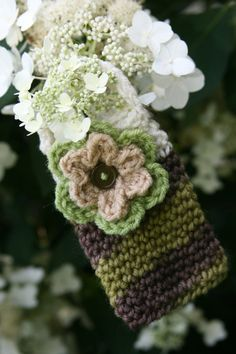 Flower Cell phone case or cozy crocheted in by Loopedwithlove4U, $10.00