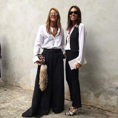 #mfw16 with @vivianavolpicella ❤️wearing @driesvannoten pants&skirt #saintlaurent shirt @fendi bag @spektresunglasses @pomellato necklace