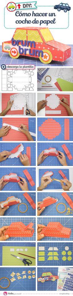 DIY: Caja regalo con forma de coche de papel paso a paso. Caja de papel fácil. Caja regalo Original. Caja para regalar original. Handmade.