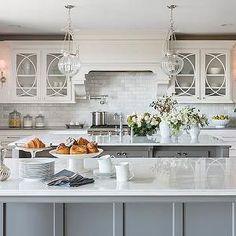 Casa Verde Design - kitchens - double islands, double kitchen islands, grey island, grey kitchen island, white marble countertops, beveled m...