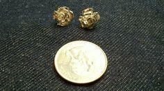 Sterling silver rose stud earrings handmade by me for $60
