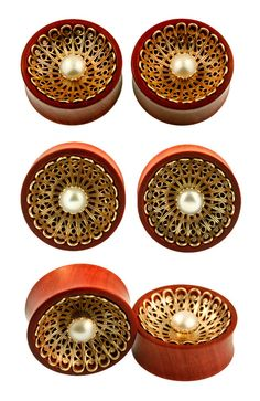 Pink Ivory wood with 10mm freshwater pearls Plugs by Onetribe