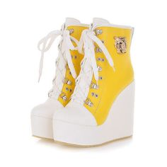 Sweet blue yellow black wedge ankle lace up punk boots