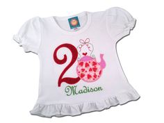 Tea Party Birthday Shirt with Teapot Number and Name by SunbeamRoad on Etsy