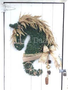Horse Head Wreaths by Linda Dalziel. Hand woven faux garland. On Facebook.