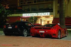 Alfa Romeo 8C & Ferrari Enzo. Such a nice looking couple out on the town.