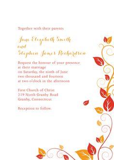 Autumn Foliage Wedding Invitation For customizations: printableinvitationkits[at]gmail[dot]com