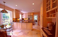 Country kitchen cabinets.