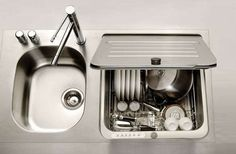 Dishwasher designed to fit in the space of a kitchen sink. Perfect for apartment or small space living.