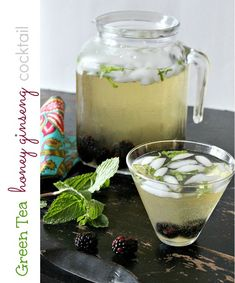 Green Tea Ginseng Cocktail.       2 16.9oz bottles of Lipton Diet Green Tea Honey Ginseng     1 cup BACARDI Superior Rum     2 cups Champagne     2 tbs Agave syrup     1 cup blackberries     4 large mint leaves (julienne)     ice