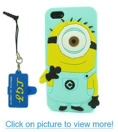 DD(TM) Single Eye-Green 3D Cartoon Despicable Me 2 Minions Henchmen Soft Silicone Case Skin Protective Cover for Apple iPhone 5 5s 5G 5th Generation with 3 in 1 Anti-dust Plug/LCD Cleaning Cloth/Cable Tie