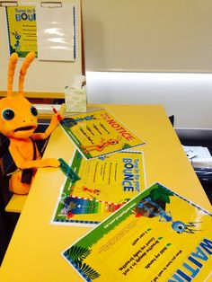 October 2014: Hoppy is sizing up posters for classrooms to become available in early 2015.