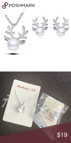 ✨NWT✨ Silver Pearl Reindeer Necklace Earrings Set New with tags! Adorable silver tone pearl reindeer necklace and earrings. You don't have to pick one...you get both! Perfect for gift giving. ***No Trades*** Jewelry Necklaces
