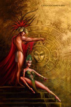 Aztec Gods by on deviantART: Chicano Love, Chicano Art, Aztec Tattoo Designs, Aztec Designs, Fairytale Fantasies, Fairytale Art, Aztecas Art, World Mythology, Aztec Warrior