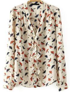White Long Sleeve Ruffle Umbrella Print Blouse- Medium