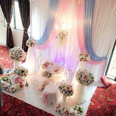Pelamin buaian berendoi, cukur jambul, pakej aqiqah Fantasy pram Cradle  Majlis di Salak Tinggi www.alisdeco.blogspot.com Alis 0123550657