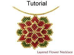 Beaded Layered Poinsettia / Dahlia Flower Necklace Beading Pattern Tutorial