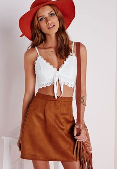 Lace Tie Front Bralet White - Tops - Missguided