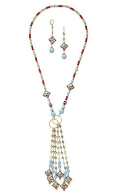 Lariat-Style Necklace and Earring Set with Cloisonné Beads, Glass Beads and SWAROVSKI ELEMENTS