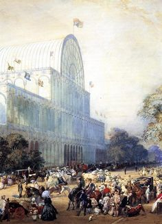 """Eugene Louis Lami: """"The Inauguration of Crystal Palace"""", Drawing - pastel. Private collection, The Athenaeum - A4 Poster, Poster Prints, Glass Building, Artist And Craftsman, Crystal Palace, World's Fair, Vintage Artwork, French Artists, Giclee Print"""