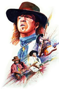 The late Stevie Ray Vaughn, done for a Revolutionary Comics cover, watercolor.