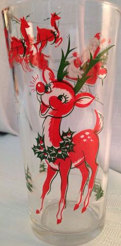 Vintage In N Out Burger Rudolph Santa Christmas Collector Glass Kitsch 12 oz #InNOutBurger