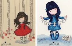 Gorjuss Set Of 2: Poppy Wood & I Found My Family In A Book Cross Stitch Kits - £40.50 on Past Impressions | by Bothy Threads
