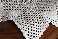 Vintage 1940s Crochet Tablecloth or Throw With Medieval Cross