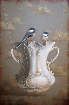 Portfolio   David Arms   Artist- combining a few of my faves! Dishware, birds, art!!!