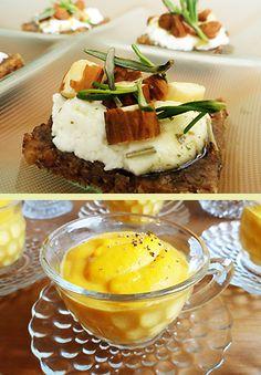 Tartines de queijo de cabra, mel e avelãs e sopinha de cenoura com laranja