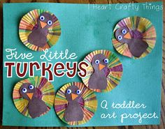 Five Little Turkeys Craft. Can have kids color cupcake papers.