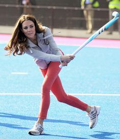 Duchess of Cambridge playing hockey with the Olympic Team. How does she look so Beautiful all the time!