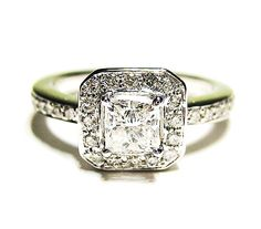 0.90ct Antique Vintage Style Square PRINCESS Diamond ENGAGEMENT Wedding Anniversary RING With  Pave Halo