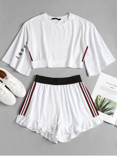Summer Striped Pleated Elastic High Crew Regular Active Casual and Daily and Sports Side Stripe Sporty Top Shorts Sweat Suit Girls Fashion Clothes, Teen Fashion Outfits, Suit Fashion, Outfits For Teens, Girl Outfits, Style Clothes, Cute Lazy Outfits, Sporty Outfits, Stylish Outfits