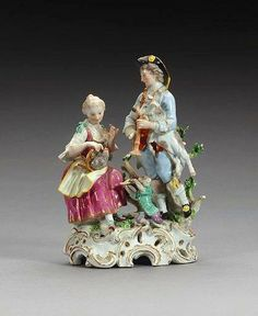 "Meissen Porcelain Figurine; Circa 1750, Depicting ""Sound"" from a set of the five senses. Meissen Porcelain 