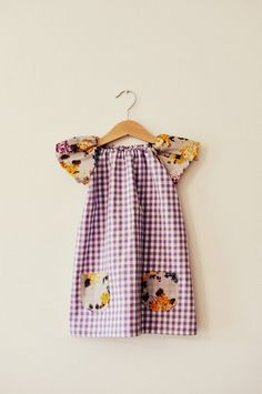 Girls floral and lilac purple gingham airy summer floral classic tunic dress