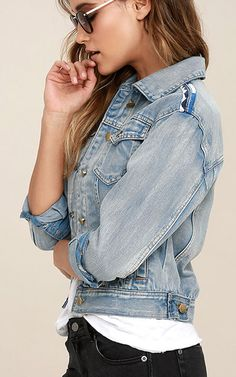 Highway Blue Embroidered Denim Jacket via @bestchicfashion