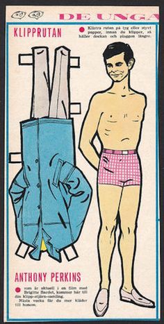 you too can have a psycho norman bates doll to make , chilling thought Anthony Perkins vintage Swedish paper doll
