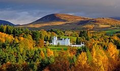 Blair Castle and the Grampian Mountains ~ Village of Blair Atholl, Perthshire, Scotland....