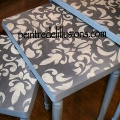 A beautiful set of nesting tables finished in Paris Grey and Old White Chalk Paint® decorative paint by Annie Sloan   By Stockist Peintre de L'illusion of Montréal, Ahuntsic