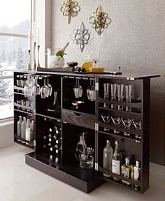 Crate and Barrel Bar- for man cave. simple clean lines